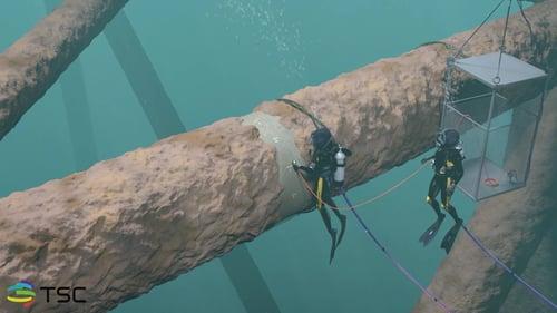 Diver inspecting model closeup