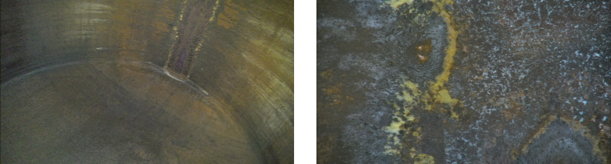Dome end view in left image, with close up of 1200h pitting in extremity where dome end meets tank wall