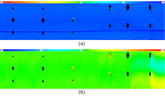 Figure 3. Tube A IRIS measurement results (a) wall thickness (WT), (b) front wall (FW). Limited echoes are collected for the RBHs.
