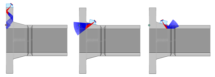 Flange in 3D with Probe Positioned on Surfaces