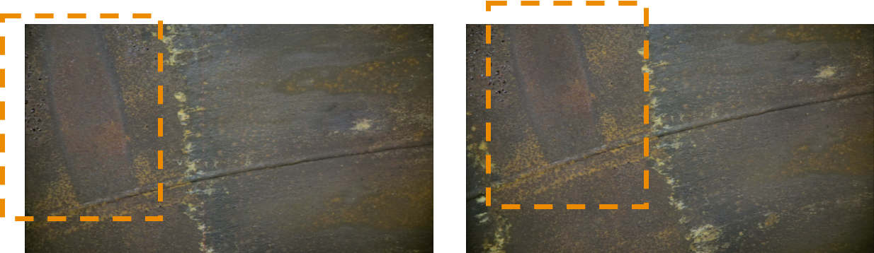 Internal view of welded joints – surface corrosion evident in and around 12 oclock position – shown in orange box