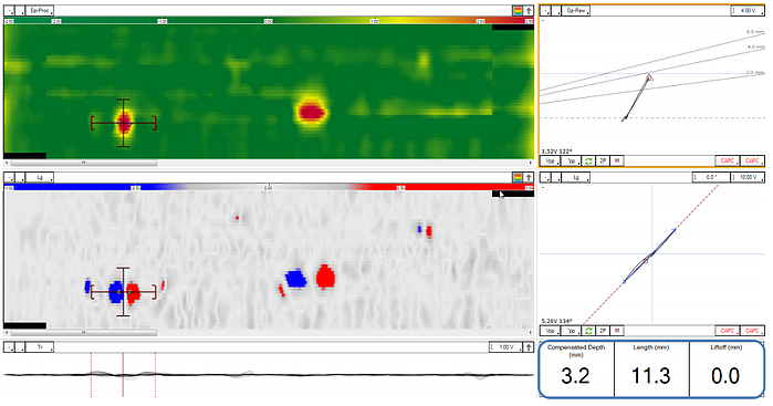Magnifi software interface offers easy-to-interpret C-Scan views and assisted analysis for crack depth and length sizing