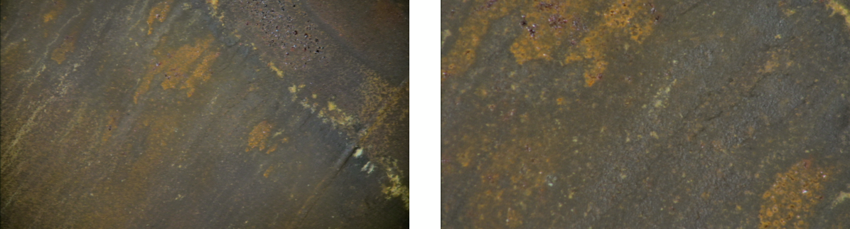 Wide angle and close up view of 1155h position and evidence of corrosion pitting – additional close up image shown on right hand image