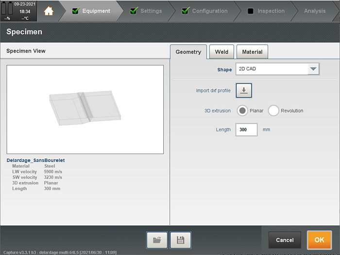 Capture interface for the 2D CAD component with the extrusion options